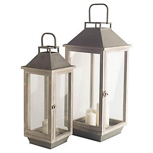 Mercana Brown Wood/Metal Candle Holder Lanterns (Set of 2), , large