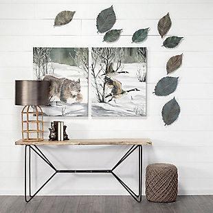 "Mercana  12""H Small Metal Leaf Wall Art, , rollover"