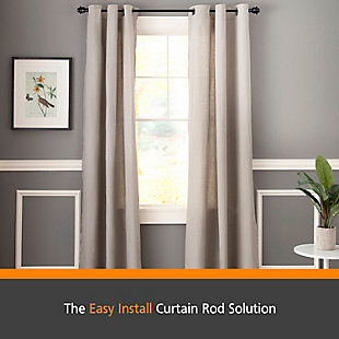 """Kenney Kenney® Finn 5/8"""" Fast Fit™ Easy Install Decorative Window Curtain Rod, 36-66"""", Weathered Brown, Brown, rollover"""