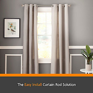 "Kenney Kenney® Milton 5/8"" Fast Fit™ Easy Install Decorative Window Curtain Rod, 36-66"", Pewter, Gray, rollover"