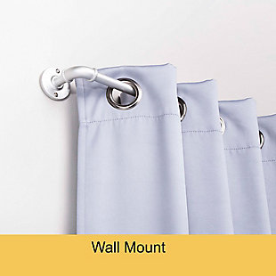 """Kenney Kenney Adler 5/8"""" Indoor/Outdoor Rust-Resistant Wrap Around Curtain Rod, 28-48"""", Brushed Nickel, Silver, rollover"""