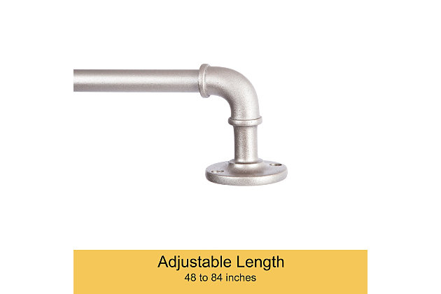 """Kenney Kenney Adler 5/8"""" Indoor/Outdoor Rust-Resistant Wrap Around Curtain Rod, 28-48"""", Brushed Nickel, Silver, large"""