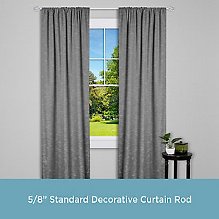 """Kenney Kenney® Cage 5/8"""" Standard Decorative Window Curtain Rod, 28-48"""", Brushed Nickel, Silver, large"""