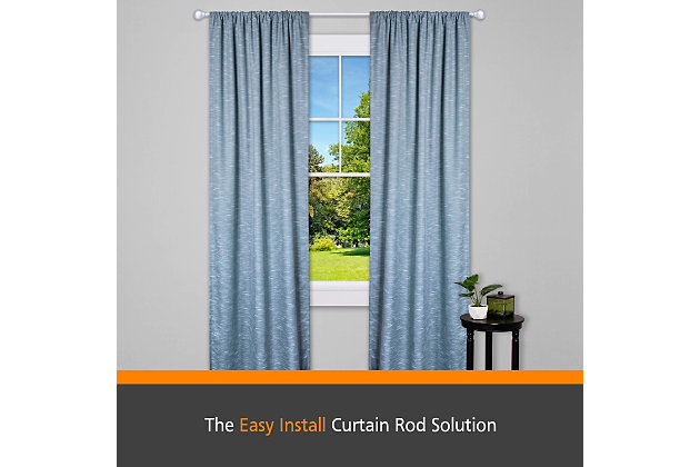 """Kenney Kenney® Fast Fit™ Dryden 5/8"""" Easy Install Decorative Window Curtain Rod, 36-66"""", Satin Nickel, Silver, large"""