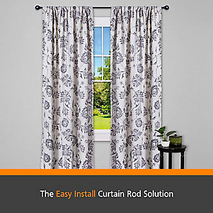 """Kenney Kenney® Fast Fit™ Dryden 5/8"""" Easy Install Decorative Window Curtain Rod, 36-66"""", Black, Black, large"""