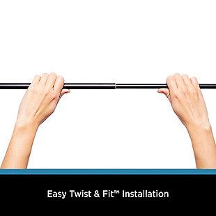 "Kenney Kenney® Twist & Fit™ Tate 5/8"" No Tools Decorative Window Curtain Rod, 28-48"", Black, Black, large"