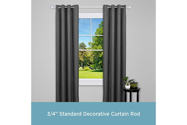 "Kenney Kenney® Bryce 3/4"" Standard Decorative Window Curtain Rod, 36-66"", Satin Nickel, Silver, large"