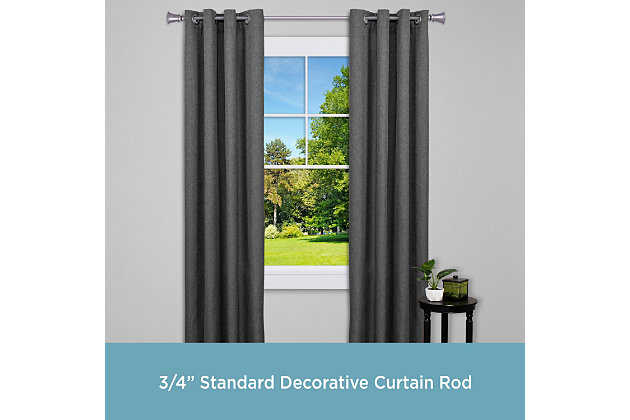 """Kenney Kenney® Nile 3/4"""" Standard Decorative Window Curtain Rod, 36-66"""", Pewter, Gray, large"""