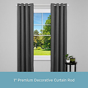 "Kenney Kenney® Astrid 1"" Premium Decorative Window Curtain Rod,36-66"", Brushed Nickel, Silver, rollover"