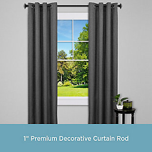 "Kenney Kenney® Mission 1"" Premium Decorative Window Curtain Rod,36-66"", Matte Black, Black, rollover"