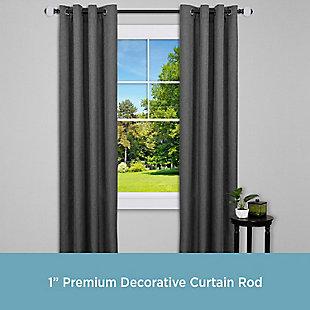 """Kenney Kenney® Callie 1"""" Premium Decorative Window Curtain Rod,36-66"""", Matte Black, Black, rollover"""