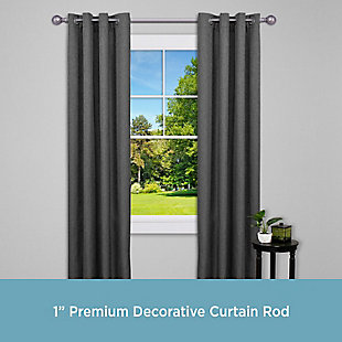 "Kenney Kenney® Hailey 1"" Premium Decorative Window Curtain Rod,36-66"", Pewter, Gray, rollover"