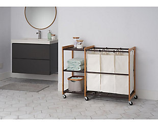 TRINITY 3-Bag Laundry Station with Wheels, , rollover