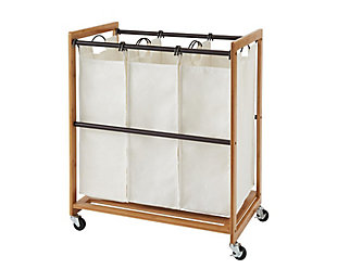 TRINITY Bamboo 3-Bag Laundry Cart, , large