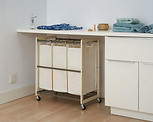 TRINITY 3-Bag White Laundry Cart, , rollover