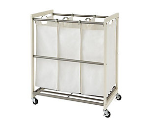 TRINITY 3-Bag White Laundry Cart, , large