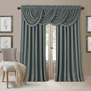 "Home Accents All Seasons Waterfall Window Valance, Dusty Blue, 52"" x 36"", Dusty Blue, large"
