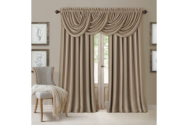 "Home Accents All Seasons Waterfall Window Valance, Taupe, 52"" x 36"", Taupe, large"