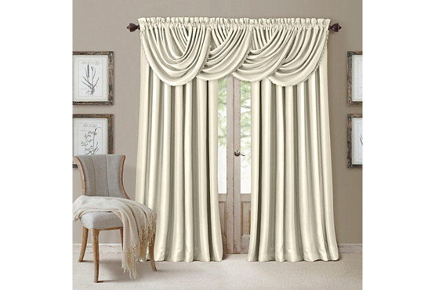 """Home Accents All Seasons Waterfall Window Valance, Ivory, 52"""" x 36"""", Ivory, large"""