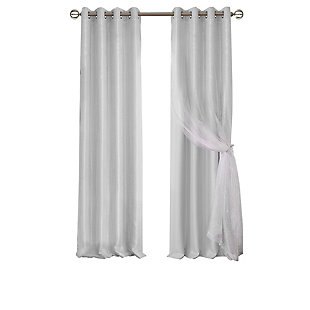 "Home Accents Aurora Kids Room Darkening Sheer Sparkle Overlay Curtain Panel, Pearl Gray, 52"" x 84"", Pearl Gray, rollover"