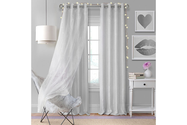 "Home Accents Aurora Kids Room Darkening Sheer Sparkle Overlay Curtain Panel, Pearl Gray, 52"" x 84"", Pearl Gray, large"