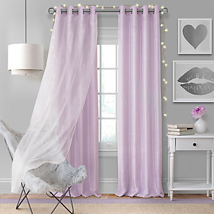 "Home Accents Aurora Kids Room Darkening Sheer Sparkle Overlay Curtain Panel, Lavender, 52"" x 108"", Lavender, large"