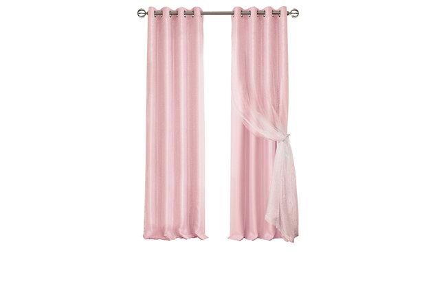 "Home Accents Aurora Kids Room Darkening Sheer Sparkle Overlay Curtain Panel, Soft Pink, 52"" x 63"", Soft Pink, large"