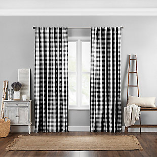 "Home Accents Farmhouse Living Buffalo Check Window Curtain Panel, Black, 52"" x 95"", Black, large"