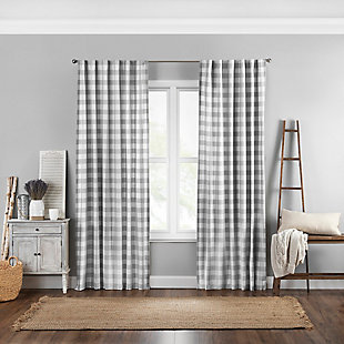 "Home Accents Farmhouse Living Buffalo Check Window Curtain Panel, Gray, 52"" x 84"", Gray, large"
