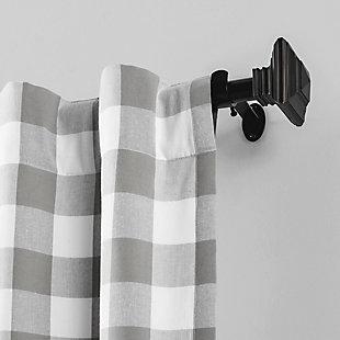 "Home Accents Farmhouse Living Buffalo Check Window Curtain Panel, Gray, 52"" x 84"", Gray, large"