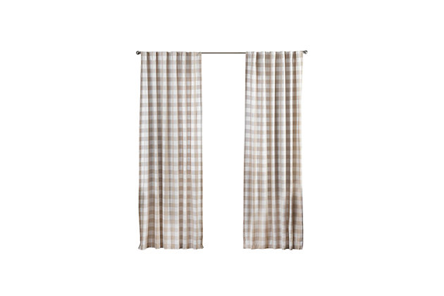 "Home Accents Farmhouse Living Buffalo Check Window Curtain Panel, Tan, 52"" x 84"", Tan, large"
