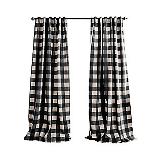 "Home Accents Grainger Buffalo Check Blackout Window Curtain Panel, Black, 52"" x 84"", Black, rollover"