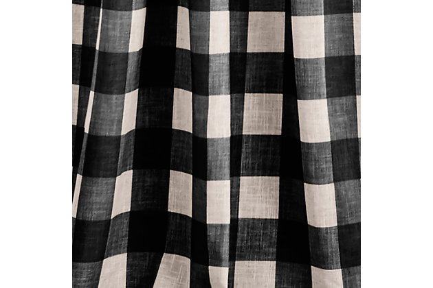 "Home Accents Grainger Buffalo Check Blackout Window Curtain Panel, Black, 52"" x 84"", Black, large"
