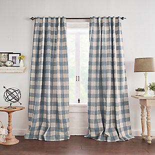 """Home Accents Grainger Buffalo Check Blackout Window Curtain Panel, Chambray, 52"""" x 84"""", Chambray, large"""