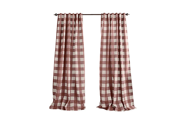 """Home Accents Grainger Buffalo Check Blackout Window Curtain Panel, Red, 52"""" x 84"""", Red, large"""