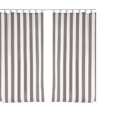 """Home Accents Highland Stripe Indoor/Outdoor Window Curtain, Gray, 50"""" x 95"""", Gray, large"""