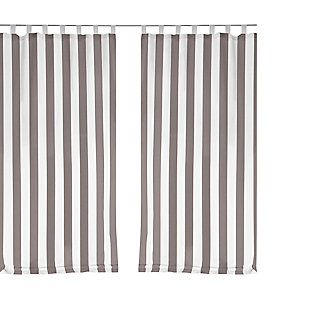 "Home Accents Highland Stripe Indoor/Outdoor Window Curtain, Gray, 50"" x 95"", Gray, rollover"