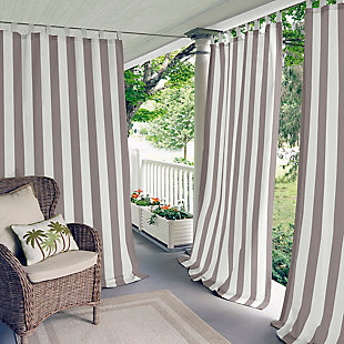 "Home Accents Highland Stripe Indoor/Outdoor Window Curtain, Gray, 50"" x 95"", Gray, large"