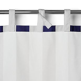 """Home Accents Highland Stripe Indoor/Outdoor Window Curtain, Navy, 50"""" x 95"""", Navy, large"""