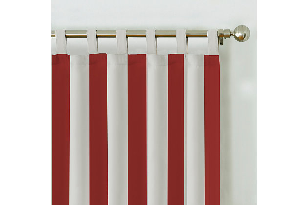"""Home Accents Highland Stripe Indoor/Outdoor Window Curtain, Red, 50"""" x 108"""", Red, large"""