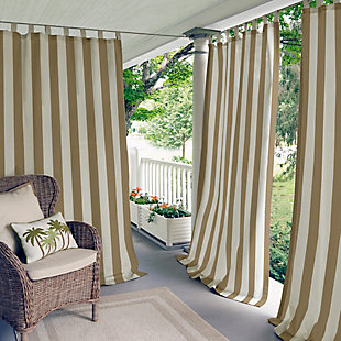 "Home Accents Highland Stripe Indoor/Outdoor Window Curtain, Natural, 50"" x 84"", Natural, large"