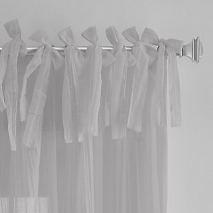 """Home Accents Jolie Semi-Sheer Tie Top Window Curtain Panel, Gray, 52"""" x 108"""", Gray, large"""