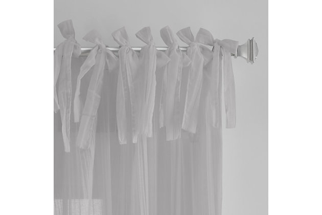 "Home Accents Jolie Semi-Sheer Tie Top Window Curtain Panel, Gray, 52"" x 95"", Gray, large"