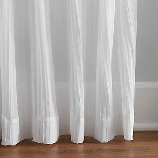 "Home Accents Jolie Semi-Sheer Tie Top Window Curtain Panel, White, 52"" x 108"", White, large"