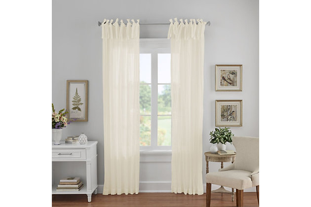 "Home Accents Jolie Semi-Sheer Tie Top Window Curtain Panel, Ivory, 52"" x 108"", Ivory, large"
