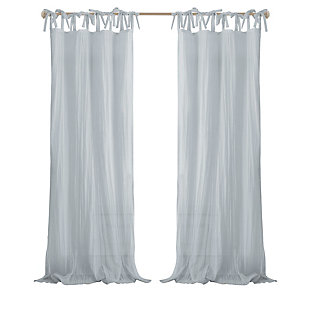"Home Accents Jolie Semi-Sheer Tie Top Window Curtain Panel, Soft Blue, 52"" x 84"", Soft Blue, rollover"