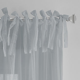 """Home Accents Jolie Semi-Sheer Tie Top Window Curtain Panel, Soft Blue, 52"""" x 84"""", Soft Blue, large"""
