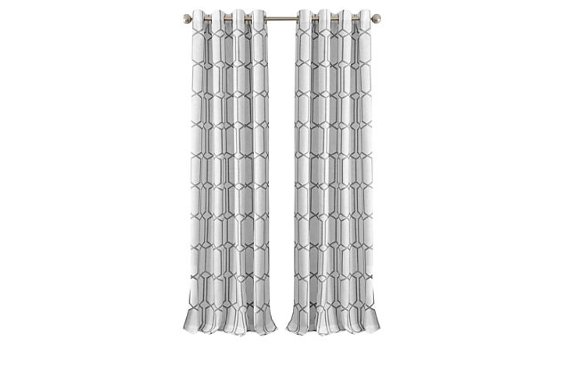 "Home Accents Kaiden Geometric Room Darkening Window Curtain Panel, Gray, 52"" x 84"", Gray, large"