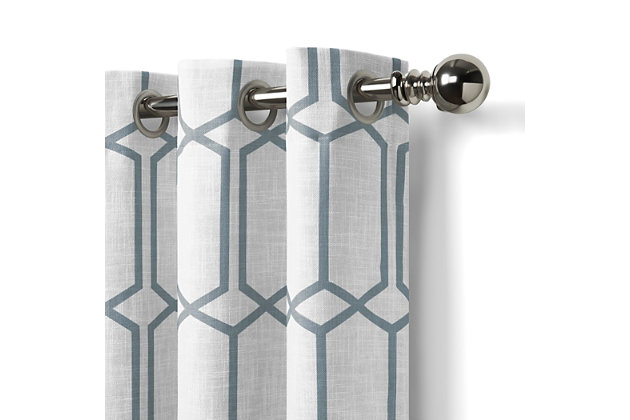 "Home Accents Kaiden Geometric Room Darkening Window Curtain Panel, Soft Blue, 52"" x 84"", Soft Blue, large"