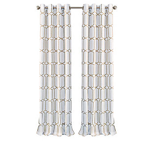 "Home Accents Kaiden Geometric Room Darkening Window Curtain Panel, Taupe, 52"" x 84"", Taupe, rollover"